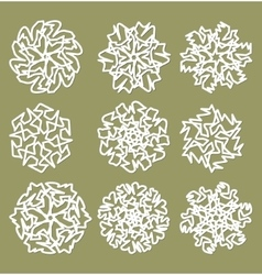 White geometric star shapes snowflakes with fine vector image