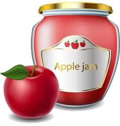 Apple jam in jar vector image vector image