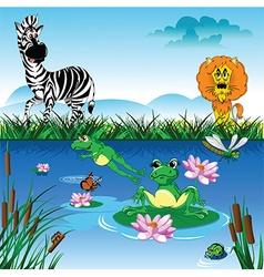 Cartoon zebra in forrest vector
