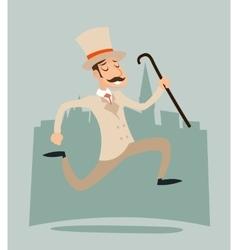 Happy Victorian Running Gentleman Hurry Wealthy vector image vector image