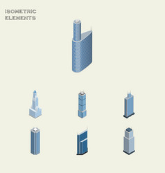Isometric building set of building business vector