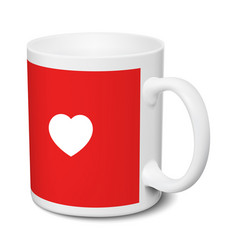 White and red mug love realistic 3d mockup on a vector