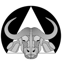 Buffalo head black and white symmetrical drawing vector image vector image