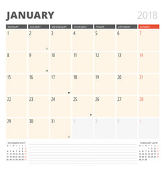 calendar planner for january 2018 design template vector image