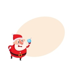 Cute and funny santa claus with christmas tree vector