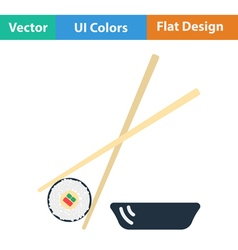 Flat design icon of Sushi with sticks vector image vector image