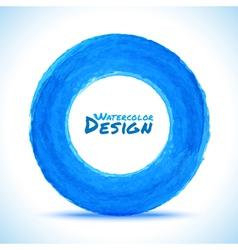 Hand drawn watercolor blue circle design element vector image