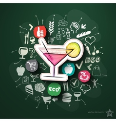 Meals and drinks collage with icons on blackboard vector image vector image