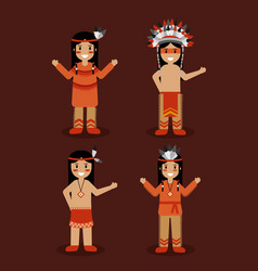 native american indian people with traditional vector image