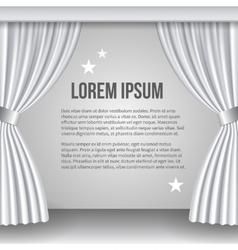 Open white curtain vector