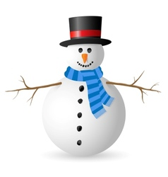 Snowman isolated on white background vector image vector image