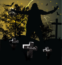 Spooky graveyard halloween background vector image