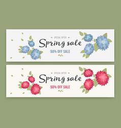 spring sale flyer or voucher design set vector image vector image