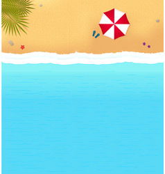 beach with waves and red umbrella vector image