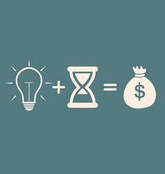 bulb time money concept profit vector image vector image