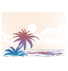 palm tree beach colorful landscape vector image