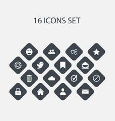 set of 16 editable internet icons includes vector image vector image