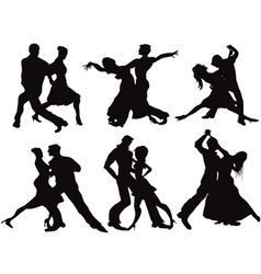 Silhouettes of the ballroom dancers vector image