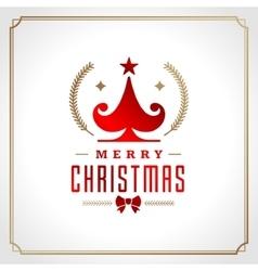 Christmas tree retro typographic and ornament vector image