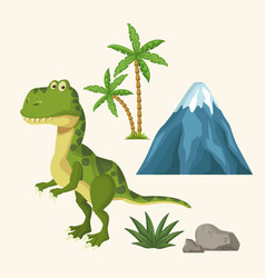 dinosaurs elements cartoon vector image vector image
