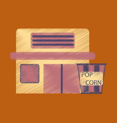 Flat icon in shading style building cinema popcorn vector