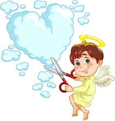 little baby angel with scissors vector image