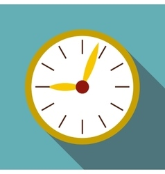 Round wall clock icon flat style vector