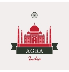 Taj Mahal and Indian flag vector image vector image