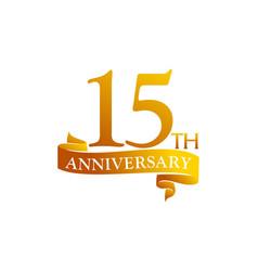 15 year ribbon anniversary vector