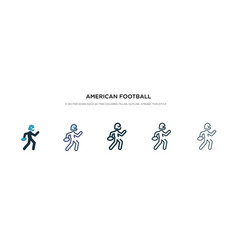 American football player running with ball vector