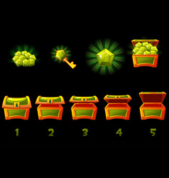 animated treasure chest with green precious gem vector image
