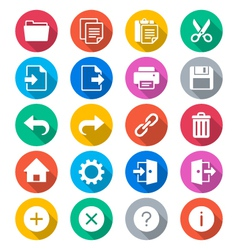 Application toolbar flat color icons vector image