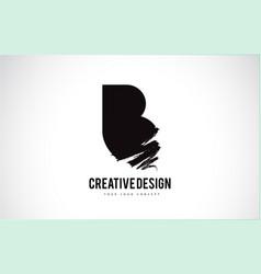 B letter logo design brush paint stroke artistic vector