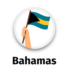 bahamas flag in hand round icon vector image