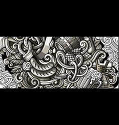 beer fest hand drawn doodle banner cartoon vector image