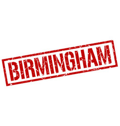 Birmingham red square stamp vector