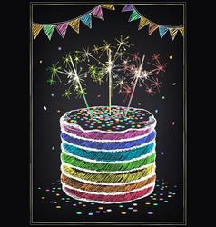 birthday invitation card cake vector image