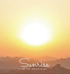 Blurred mountains sunrise background vector