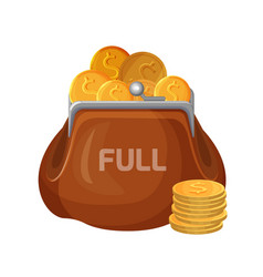 brown leather wallet icon full of coins vector image