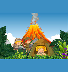 camping kids camp next to volcano vector image