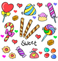 Candy object colorful of doodles vector