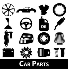 Car parts store simple black icons set eps10 vector