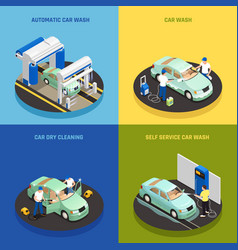 carwash concept icons set vector image