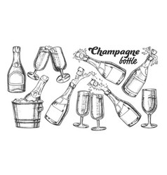 champagne bottle and glass monochrome set vector image