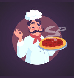 Chef of italian appearance and steaming pizza vector