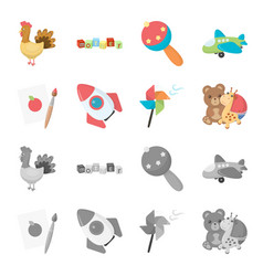 Children toy cartoonmonochrome icons in set vector