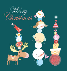 christmas card with snowman and gifts vector image