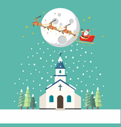 church flat style in winter season vector image