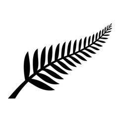 Classic nz silver fern icon emblem black vector