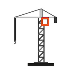 color silhouette cartoon tall crane of building vector image